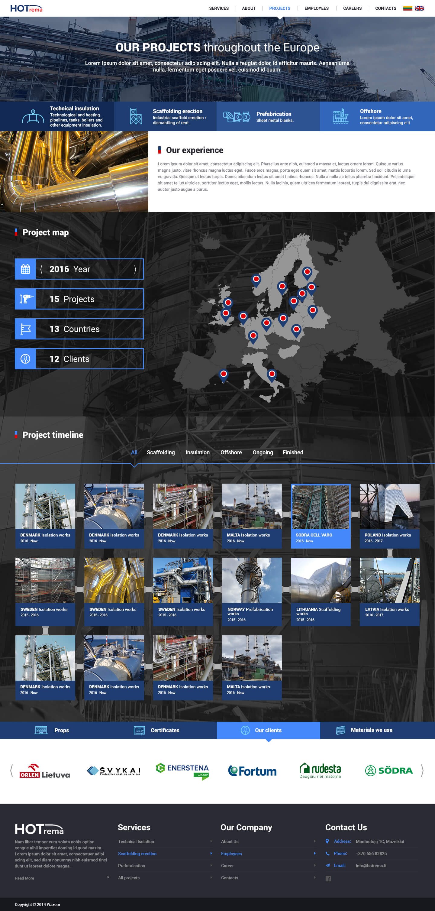 hotrema.lt projects page design
