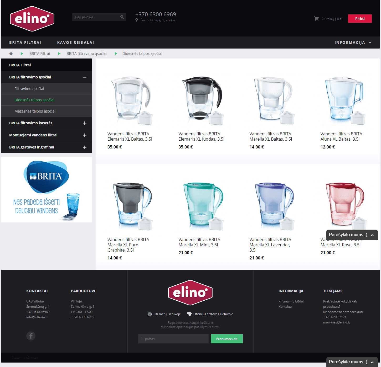 elino.lt product listing page design